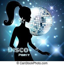 fête, invitation., disco