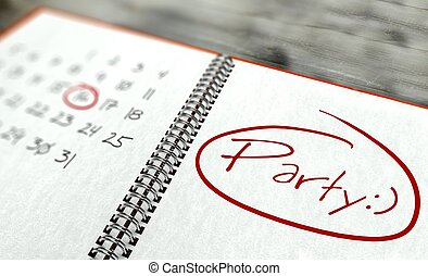 fête, jour, concept, calendrier, important