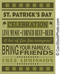 fête, jour st patrick, invitation