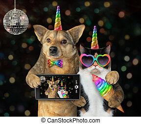 fête, licorne, chien, chat