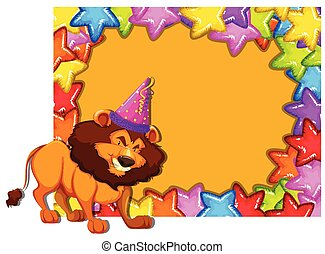 fête, lion, carte, invitation