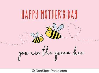 fête mères, carte, à, mignon, abeille, vecteur