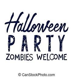 fête, message, halloween, calligraphie, célébration