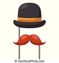 fête, moustache, chapeau, déguisement, carnaval