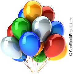 fête, multicolore, anniversaire, ballons
