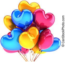 fête, multicolore, ballons, cœurs