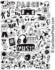 fête, musique, doodles