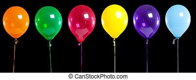 fête, noir, ballons colorés