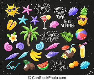 fête, objets, plage