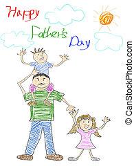 fête pères, carte, heureux