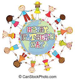 fête pères, fond, heureux