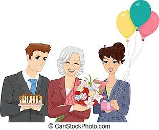 fête, personne agee, retraite, femme