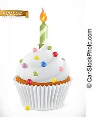 fête, petit gâteau, réaliste, vecteur, candle., 3d, icône