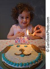 fête, peu, fille anniversaire, avoir