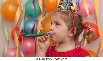 fête, peu, fille anniversaire