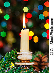 fête, peu profond, année, présente, bougies, bokeh., arbre, profondeur, field., gifts., nouveau, décoré, noël