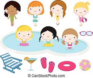 fête, piscine, natation