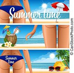 fête, plage, bannière