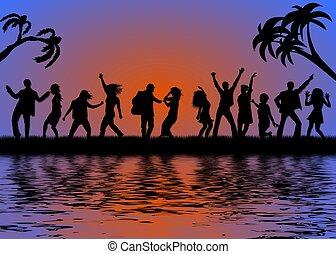 fête, plage, coucher soleil