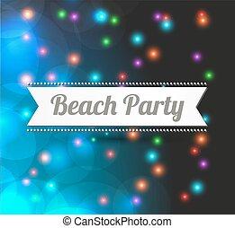 fête, plage, invitation