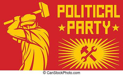 fête, politique, affiche