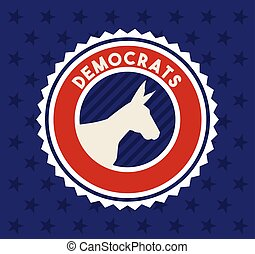 fête, politique, démocrate, animal