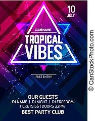 fête, poster., musique, club, créatif, exotique, vibes, aviateur, conception, numérique, dj, publicité, intertainment, template.