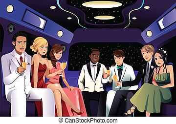 fête, prom, aller, limousine, ados