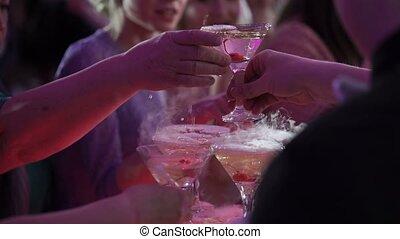 fête, pyramide, champagne