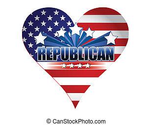 fête, républicain, usa, coeur