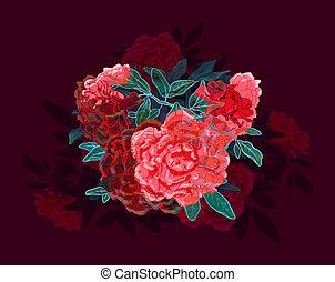 fête, rouges, décoratif, sombre, contrasté, illustration, rose, couleurs, vert, arrière-plan., fleurs, tas, dynamique, uni, leaves., bourgogne, stylisé, clair, coloré