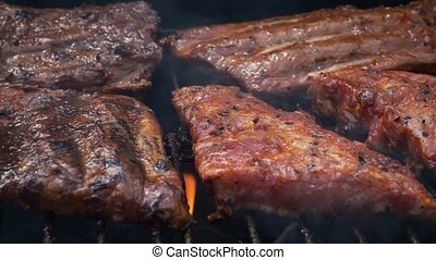 fête, savoureux, extérieur, barbecue, été, côtes, cuisine, ...