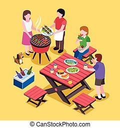 fête, scène, barbecue