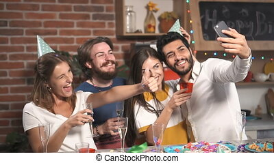 fête, selfie, amis, prendre