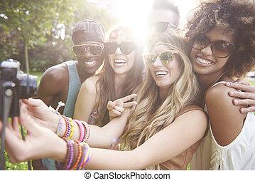 fête, selfie, groupe, prîmes, gens