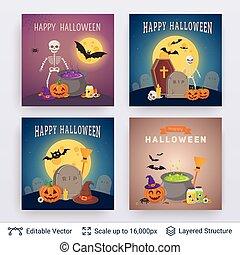 fête, set., halloween, affiches