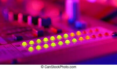 fête, signal, console, mené, ou, indicateur, niveau, son, volume, dj, nightclub., mélange