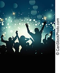 fête, silhouette, excité, foule