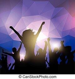 fête, silhouette, foule