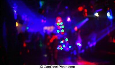 fête, silhouettes, danse, boîte nuit, gens, brouillé
