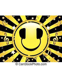 fête, smiley, dj, fond