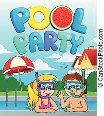 fête, thème, image, piscine, 3