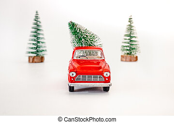fête, trend., dos, isolé, noël, humeur, porte, arbre, vue., blanc, concept, delivery., voiture, arrière-plan rouge, miniature, sauver, sommet, cadeau, space.