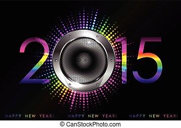 fête, -, vecteur, 2015, nouvel an, fond