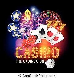 fête, vecteur, casino