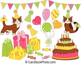 fête, vecteur, ensemble, anniversaire