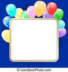 fête, vecteur, fond, baloons