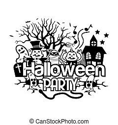 fête, vecteur, halloween, doodles., illustrateur