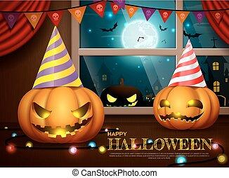fête, vecteur, halloween, illustration, potirons
