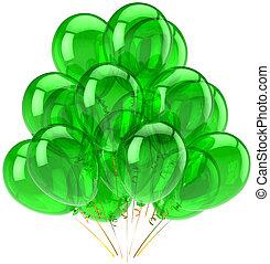fête, vert, translucide, ballons